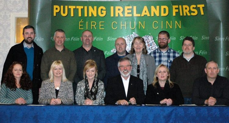 The newly elected Officer Board of the Cuige with Gerry Adams TD Uachtarain Sinn Fein