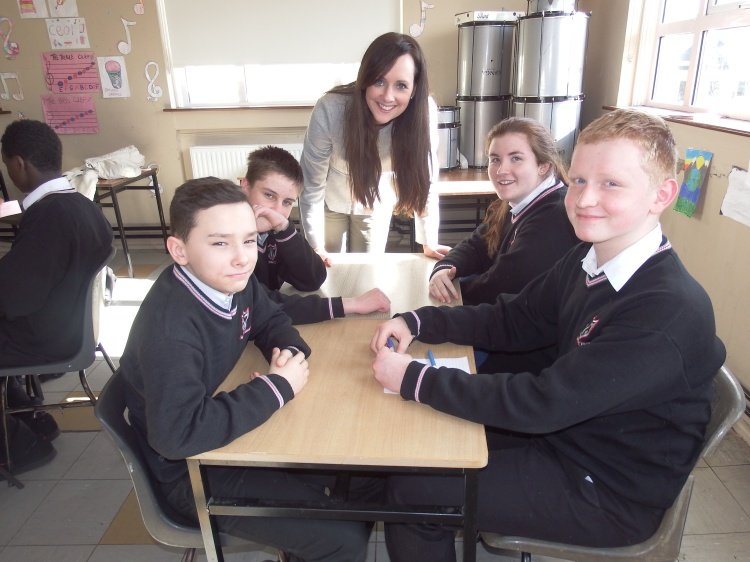 Second year students at Ennis Community College took part in a Table Quiz in Irish as part of the school's Seachtain na Gaeilge celebrations. From left: Jacob Bajerski, Christopher Donoghue, teacher Orla McDonagh, Ella Flynn and Bartosz Kielak.