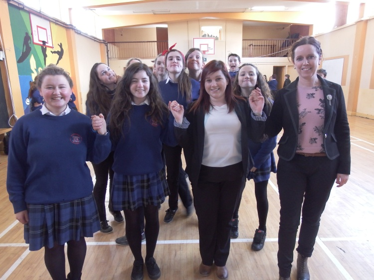Gaelcholáiste an Chláir students Gráinne Ní Niallghuis and Rebecca de Blanca with teachers Aisling Ní Scanláin and Niamh Crowe at the recent Céilí held as part of the Seachtain na Gaeilge celebrations at the Irish-medium secondary school