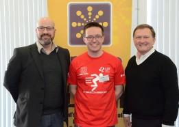 Stephen Howell (Microsoft Ireland), Liam Noonan (LIT), Bryan Neider (Senior Vice President EA Games) at Games Fleadh 2015 in LIT Thurles. Pic by Andrew Shakespeare