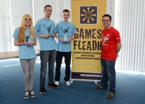 Robocode Team Runners UP LIT Thurles up Emily Barnett, Steven Dineen, Sean Horgan photographed with Dr Liam Noonan of Games Fleadh 2015. Pic by Andrew Shakespeare