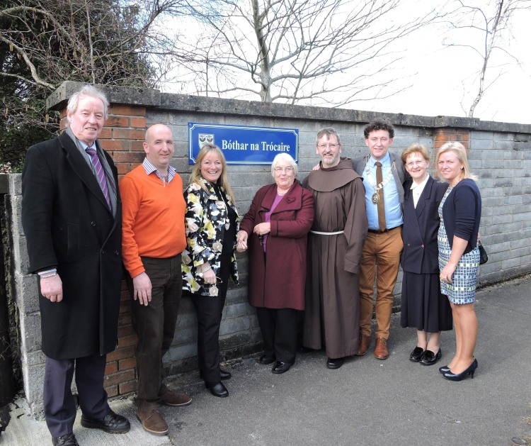 Pictured at the renaming of Friars Walk to Bothar na Trocaire were (l to r) Cllr. James Breen; Cllr. Paul Murphy; Cllr. Mary Howard; Sr. Canice, Sisters of Mercy; Fr. Caoimhin, Guardian, Ennis Friary; Cllr. Johnny Flynn, Mayor of Ennis; Sr. Madeleine, Sisters of Mercy and Cllr Ann Norton.