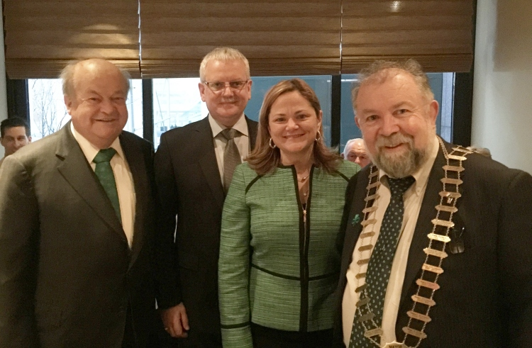 Pictured on St Patrick's Day in New York are L-R; Danny Moloney (Clare native living in New York), Tom Coughlan (Chief Executive, Clare County Council), Melissa Mark-Viverito (Speaker of the New York City Council) and Cllr. John Crowe (Cathaoirleach of Clare County Council)
