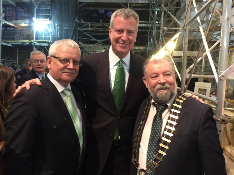 Pictured on St Patrick's Day in New York are L-R; Tom Coughlan (Chief Executive, Clare County Council), Bill de Blasio (Mayor of New York) and Cllr. John Crowe (Cathaoirleach of Clare County Council)