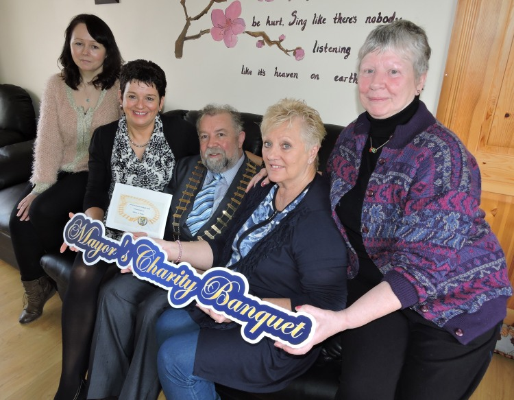A group pictured at the Slainte an Chláir Cancer Support Centre in Kilnamona where Cllr. John Crowe presented a cheque form the proceeds of his recent Mayor's Charity Banquet. Pictured (left to right) are Mary Gilmore, Helena McNamara, Cllr. John Crowe, Caroline Stack and Mary Frost. The sum of €24,760 was raised for the Carrigoran Day Care centre, West Clare Mini Marathon Cancer Care Centre and Slainte an Chláir.