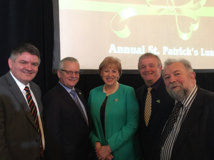Pictured on St Patrick's Day in New York are L-R; Neil Pakey (Shannon Airport PLC), Tom Coughlan (Chief Executive, Clare County Council), Minister Heather Humphreys, Councillor Gerry Coyle (Mayo County Council) and Cllr. John Crowe (Cathaoirleach of Clare County Council)