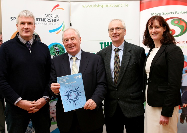 Phelim Macken (Sports Coordinator, Limerick Sports Partnership) photographed (left) with Minister of State for Tourism and Sport Michael Ring TD, John Treacy, Chief Executive of the Irish Sports Council, and Una May (Director of Participation and Ethics at Irish Sports Council).