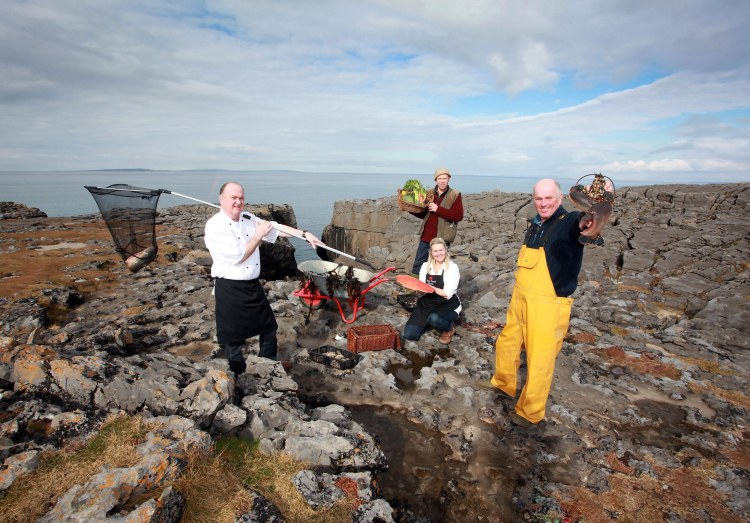 John Sheedy of Sheedy's Restaurant, Birgitta Hedin Curtin of Burren Smokehouse, Jason Horner of Leen Organics and Gerry Sweeney of Burren Seafoods photographed in the Burren which hosts the Burren Slow Food Week Festival from May 16th to 24th. Photo Yvonne Vaughan
