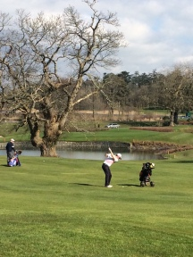 Alan Neville playing his 2nd shot to the 9th at Dromoland yesterday