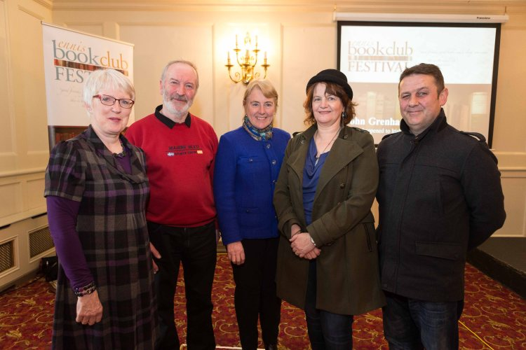 Ann Knox (left) of Ennis Book Club Festival and Bridget Barron (centre) of Caring for Carers Ireland with the Highly Commended winners in the Caring for Carers Poetry competition, from left Joe Conway, Kate Dempsey (Adjudicator) and Martin Kilroy at the Ennis Book Club Festival. Photograph by Eamon Ward