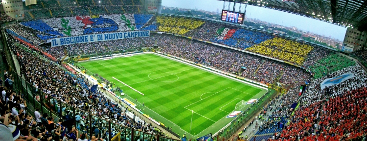 Stadio Giuseppe Meazza (San Siro) in Milan. Pic originally posted to Flickr as Scudo2009 /licensed under Wikipedia censed under the Creative Commons.