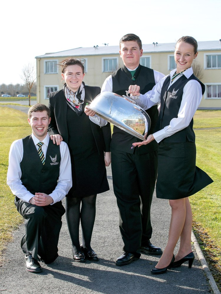 Pictured L-R are competitors  Paul Geissel, Shannon College of Hotel Management, Shauna McNamara, LIT, Adrian Zganiacz, WIT, and Alina Sile, Shannon College of Hotel Management.Pic Arthur Ellis.