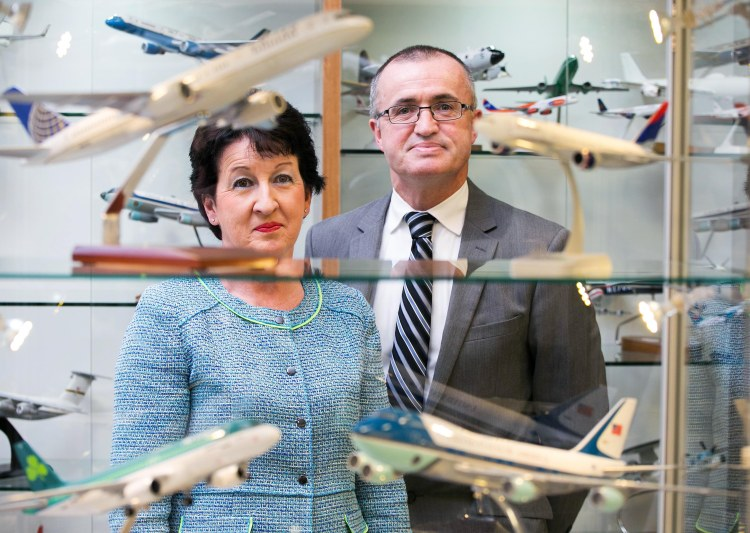 Pictured with the collection are Shannon Group Chairman Rose Hynes and Shannon Airport Operations Director Niall Maloney.Pic Arthur Ellis.