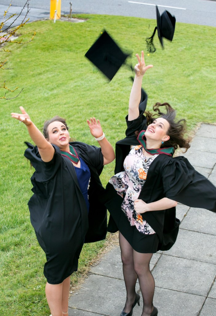 Graduates Megan Hanley, Ballina Tipperary and Karolina Ostrowska, Nenagh Tipperary, celebrate graduating at the Shannon College of Hotel Management in Shannon Co Clare on Thursday.Pic Arthur Ellis.