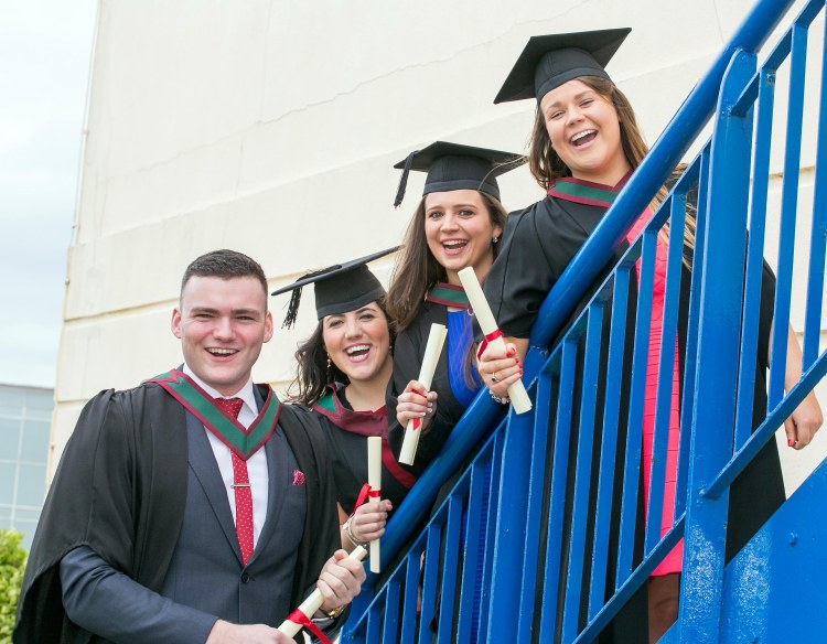 L-R Ciaran Burns, ( recipient of the Banfi Foundation Scholarship worth $10,000 USD ) Ennis Co Clare, Caoimhe Greene, Ballyvaughan Co Clare, Annette McDonough, Ennis Co Clare and Rebecca Coady, Kilrush Co Clare celebrate graduating at the Shannon College of Hotel Management in Shannon Co Clare on Thursday.Pic Arthur Ellis.