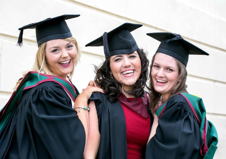 Graduates Emer Touhy, Monkstown Cork, Caoimhe Greene, Ballyvaughan Co Clare and Emma Fagan, Sandymount Dublin,  celebrate graduating at the Shannon College of Hotel Management in Shannon Co Clare on Thursday.Pic Arthur Ellis.