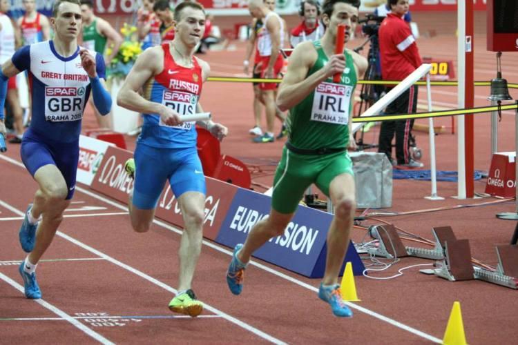Timmy Crowe in the Men's 400m Relay in Prague. Picture - Kieran Carlin