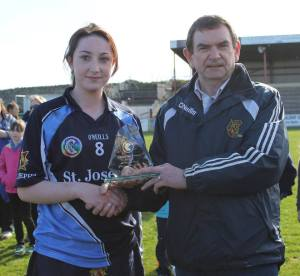 Player of the Game, Regan Conway accepts the accolade. Picture Credit: Caroline O'Keeffe