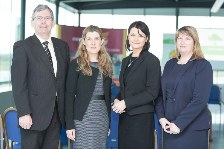 Pictured at the inaugural Mid-West Energy Forum at Shannon Airport (from left): Tom Lowry and Kathleen O'Rourke, Enterprise Ireland; Helen Downes, chief executive, Shannon Chamber; and Angela Taylor, Clare Energy. Photo: Eamon Ward.