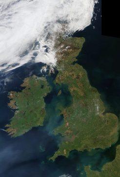Ireland and Britain from space at midday. Image modis/nasa