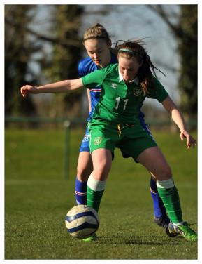 Aislinn Meaney (Lifford) in action for Ireland