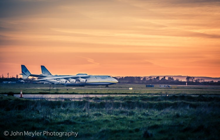 The Antonov An-225 Mriya at Shannon Airport at sunset last evening, shortly before it departed for France. Pic John Meyler Photography