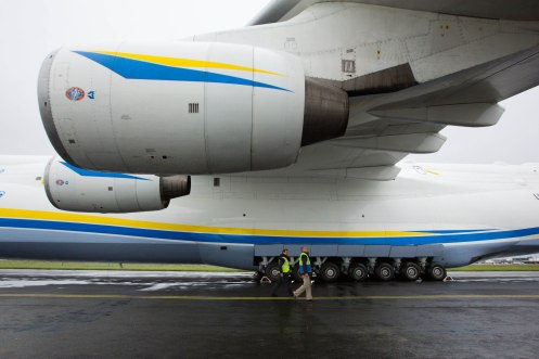 The worlds largest jet has made a fuelling stop at Shannon Airport. Seamus Kelly, Airport Operations and Niall Maloney, Airport Operations Director at Shannon Airport pictured with the Antonov while on the tarmac at Shannon. The Antonov An-225 Mriya touched down shortly before 3am Sunday morning and remained at Shannon Airport until 22.00. The Antonov 225 ÔMriyaÕ, meaning ÔDreamÕ, was designed and built by the Antonov Design Bureau in the Ukraine and first flew on December 21st 1988. Pic Sean Curtin Photo.