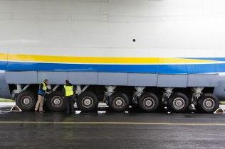 The worlds largest jet has made a fuelling stop at Shannon Airport. Niall Maloney, Airport Operations Director at Shannon Airport and Seamus Kelly, Airport Operations pictured with the Antonov while on the tarmac at Shannon. The Antonov An-225 Mriya touched down shortly before 3am Sunday morning and remained at Shannon Airport until 22.00. The Antonov 225 ÔMriyaÕ, meaning ÔDreamÕ, was designed and built by the Antonov Design Bureau in the Ukraine and first flew on December 21st 1988. Pic Sean Curtin Photo.