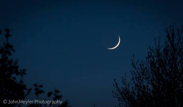 Waxing crescent moon as photographed from Shannon, Co. Clare by John Meyler Photography