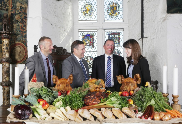 Brian Nevin (Sales, Marketing & Reservations Manager, Shannon Heritage) Kieran Callinan (Commercial Director, Brook Catering) John Ruddle (CEO, Shannon Heritage) Eimear Cusack (Marketing Manager, Brook Catering) Shannon Heritage and Brook Catering pictured in Bunratty Castle at the launch of their three-year food services partnership  Pic. Brian Arthur/ Press 22.