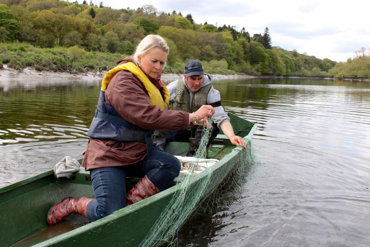 Wild salmon commercial fisherman, Mick Murphy pictured with Burren Smokehouse owner Birgitta Hedin-Curtin. Photograph Imen McDonnell