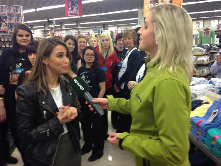 Clare FM's Ciara Revins interviews Rachael Stevens in Penneys, ENnis, today. Pic via www.twitter.com/ciararevins