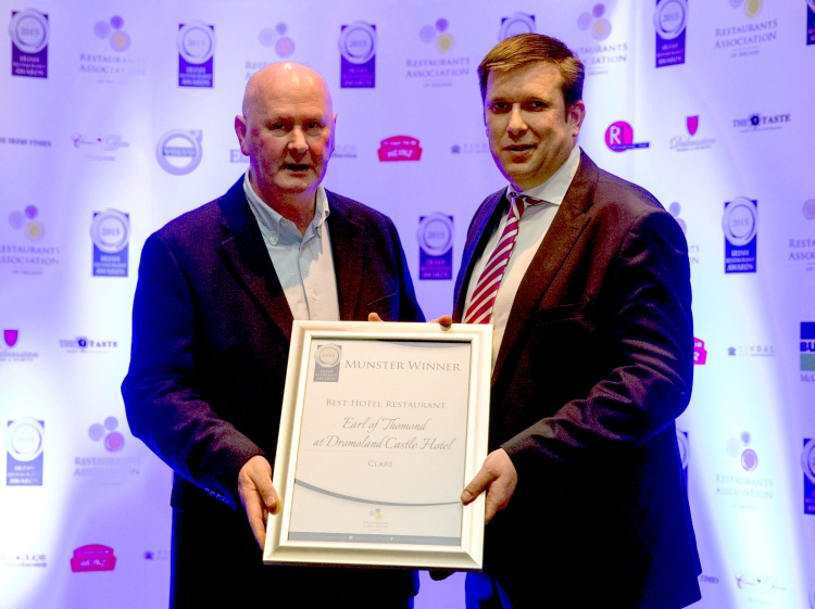 Clare's Best Hotel Restaurant, Earl of Thomand at Dromoland Castle accept their award. Picture: Keith Wiseman