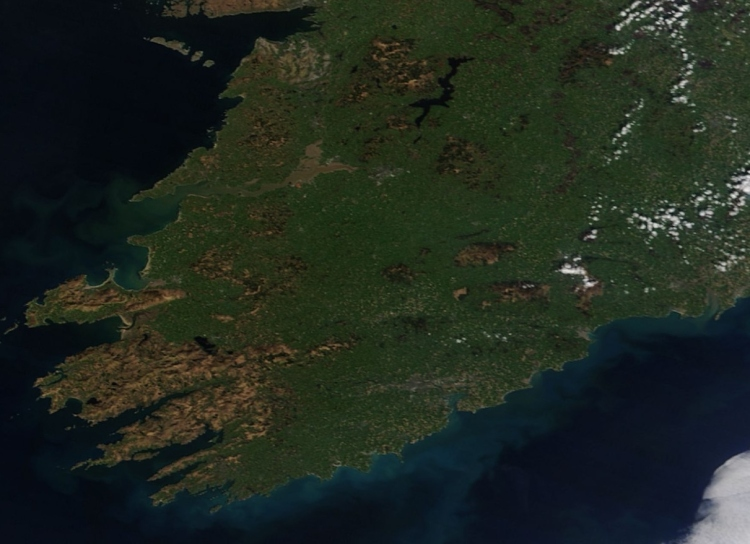Munster as seen from space at midday today by the MODIS/NASA satellite