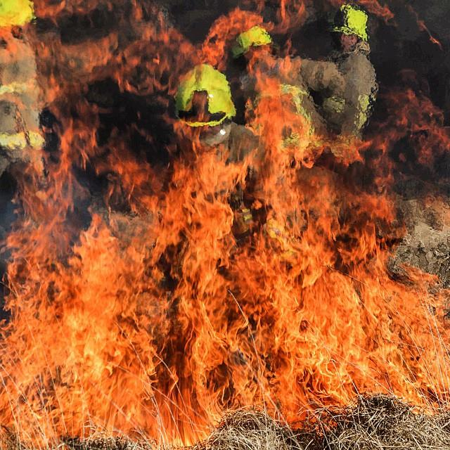 Firefighters from Ennis, Kilrush and Ennistymon battling a major bog fire between Darragh and Kilmaley yesterday evening. Pic Pat Flynn
