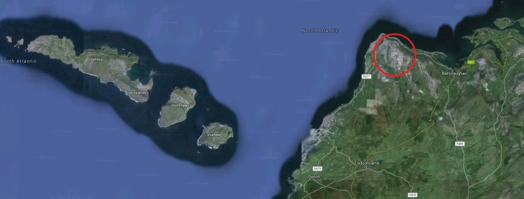 The Gleninagh Mountain area of North Clare. Pic Google Earth