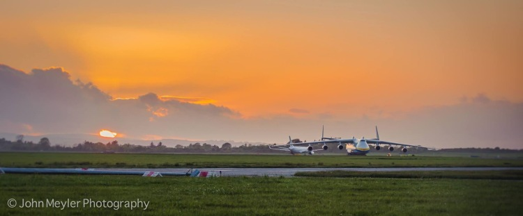 A photo of the worlds largest plane - the Antonov 225 'Mriya' - during sunset at Shannon Airport on its last visit. Pic John Meyler