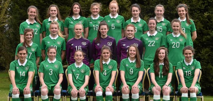 The Republic of Ireland Women's U17 side. Chloe Malone is pictured middle right, while Aislinn Meaney is pictured second from the right at the front.