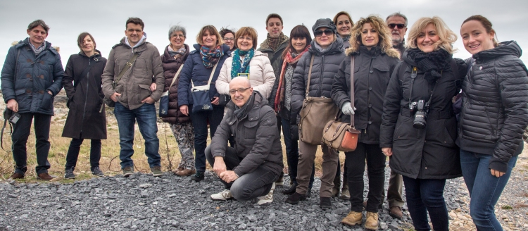 Mary O'Connor, Tourism Ireland (right); Domenica Bottecchia (fifth left) and Giuseppina Villa (sixth left), both Cocktail Viaggi; and Cecilia Bullo, tour guide (second left), with Italian travel agents.