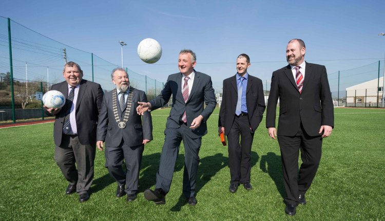 Eamon Naughton, FAI ,Councillor John Crowe, Cathaoirleach Clare County Council, Liam Williams, Chairman Kilrush Sports Complex Management Committee , John Corry ,Admin Officer Clare County Council and Tim Forde,General Manager Active Kilrush Sports Complex at the official opening of the state-of-the-art Active Kilrush Sports Complex this week. Photograph by Eamon Ward