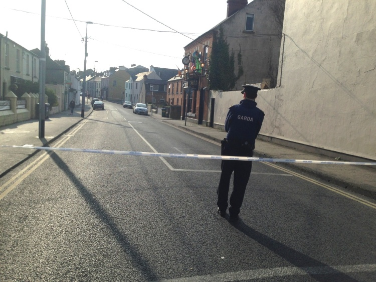 The scene at Wolfe Tone Street and Barrack Hill Limerick where the body of a man was discovered this morning. Pic Ger Leddin