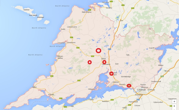Location of break-ins in Clare. Image Google Maps