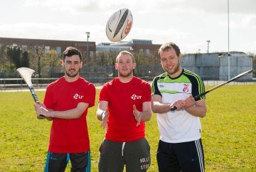 Pictured at the launch are, from left to right, LIT students Darragh Glynn and Sean Geoghegan with Paul Browne, LIT GAA Development Officer and Limerick senior hurler. Picture credit: Diarmuid Greene/Fusionshooters