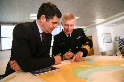 Minister Donohoe with Irish Coast Guard Director Chris Reynolds in the Coast Guard Centre