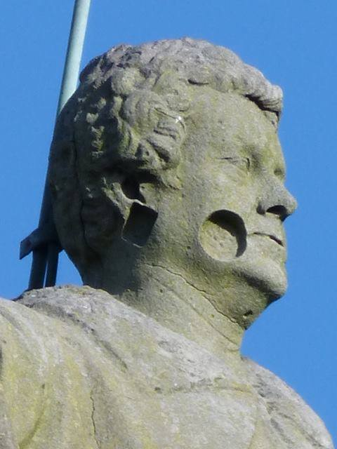 Some damage to the head of the monument is visible. Pic Mary Howard