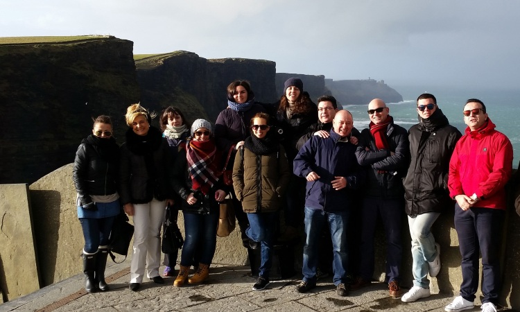 Spanish travel agents at the Cliffs of Moher; they were here as guests of Tourism Ireland in Madrid.
