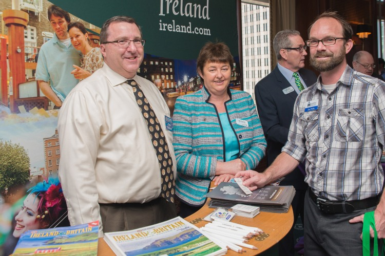Chris Barnikel, CIE Tours International; Mary Gleeson, Old Ground Hotel, Ennis; and Zac Reilly, Mann Travels (Charlotte), at Tourism Ireland's 'Jump into Ireland' (JITI) event in Charlotte, North Carolina.