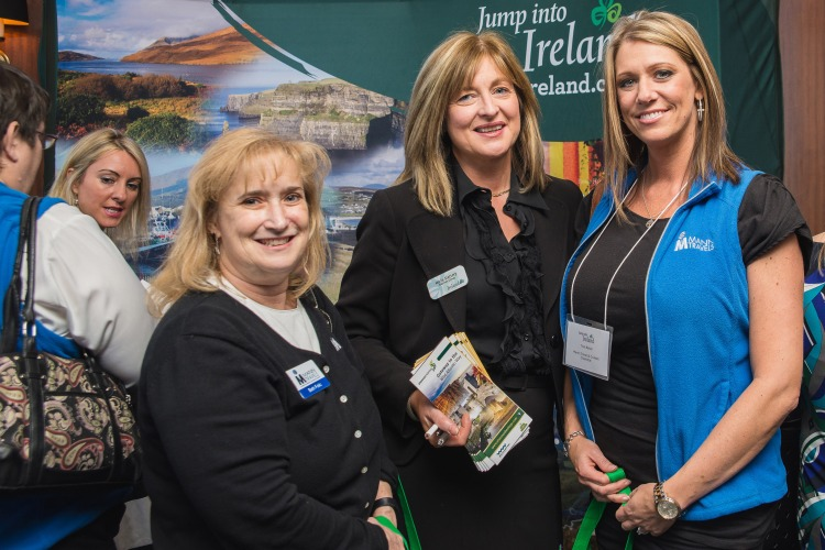 Marie Slattery, Shannon Group (centre), meeting with Beth Folic and Tina Baker, both Mann Travels and Cruises (Charlotte), at Tourism Ireland's 'Jump into Ireland' (JITI) event in Charlotte, North Carolina.