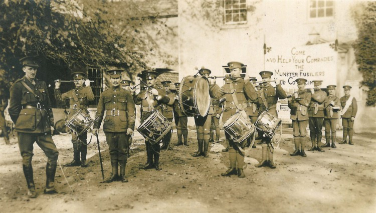 The Royal Munster Fusiliers drumming up recruits in Limerick in 1914, one of the many photographs that will be put on display as part of 'Stand Up And Fight' - a new exhibition documenting Limerick's ties to international military campaigns. Photograph by H M Stewart, 104 O'Connell Street, Limerick.