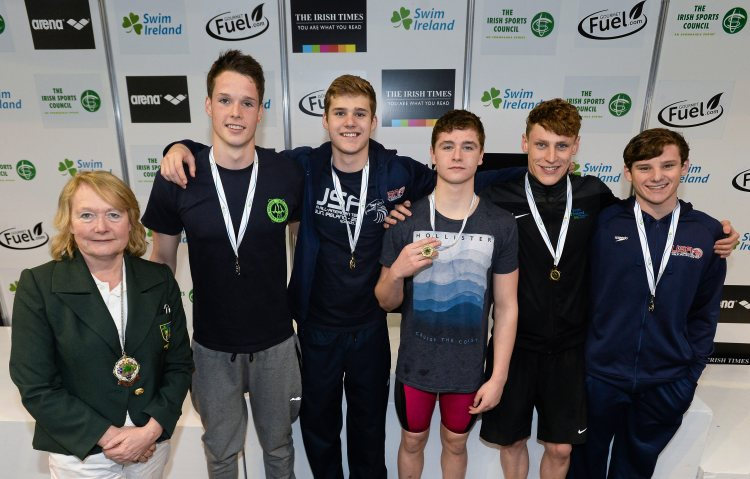 Medal recipients from the men's 200m backstroke final, in the company of Anne McAdam, President of Swim Ireland, from left, Rory McEvoy, Ennis, Michael Taylor, NCSA, Conor Ferguson, Larne, Ben Griffin, Aer Lingus, and Alex Lebed, NCSA, during the 2015 Irish Open Swimming Championships at the National Aquatic Centre, Abbotstown, Dublin. Picture credit: Stephen McCarthy / SPORTSFILE